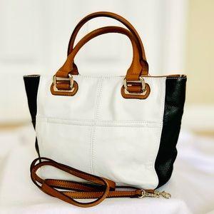 Tignanello White and Black Bag/Crossbody - Leather